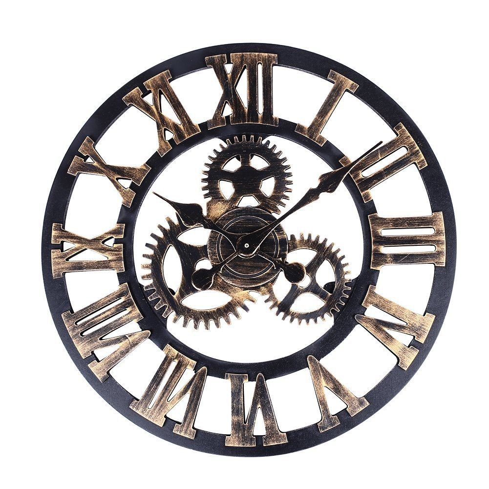 soledi vintage clock european retro vintage handmade 3d decorative gear wooden vintage wall clock copper