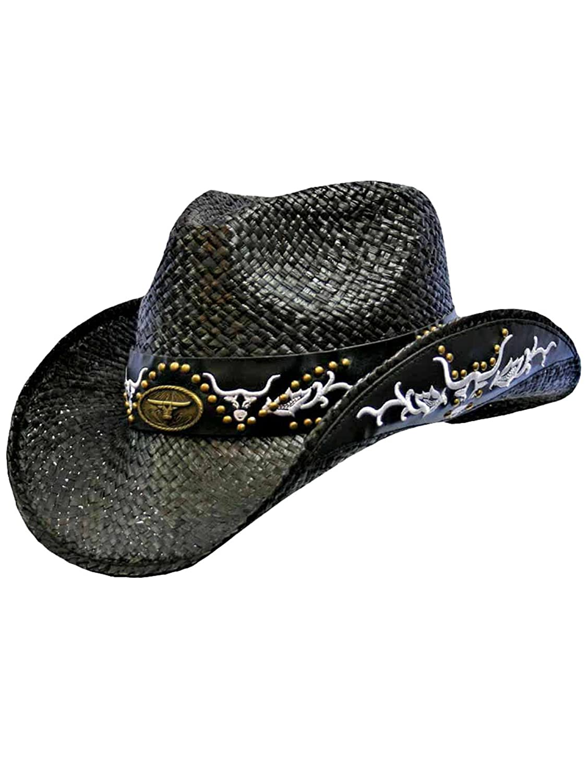Luxury Divas Black Cowboy Hat With Longhorn Western Hatband at Amazon Men s  Clothing store  Cowboy Hats Women 22511e5acc2