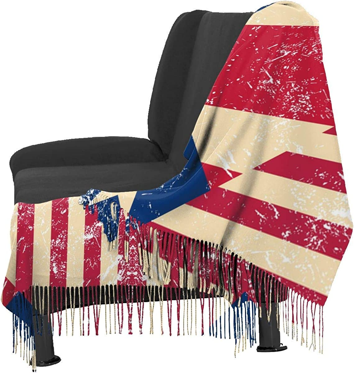 American and Puerto Rico Retro Flag Cashmere Scarf Shawl Wraps Super Soft Warm Tassel Scarves For Women Office Worker Travel