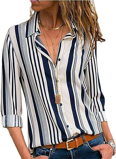 Camisas Mujer Blusa con Botones Camisetas Manga Larga Sexy Tops Rayas Cuello en V Low Cut Sexy Camisetas y Tops Camisas De Vestir: Amazon.es: Ropa y accesorios