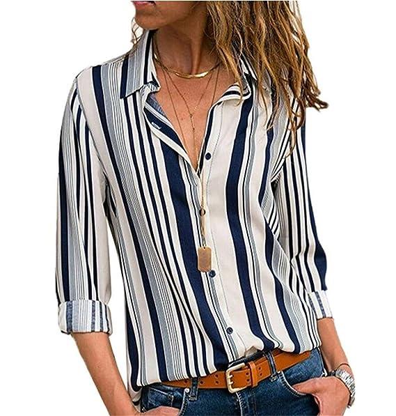 colección de descuento clientes primero gran calidad Camisas Mujer Blusa con Botones Camisetas Manga Larga Sexy Tops Rayas  Cuello en V Low Cut Sexy Camisetas y Tops Camisas De Vestir