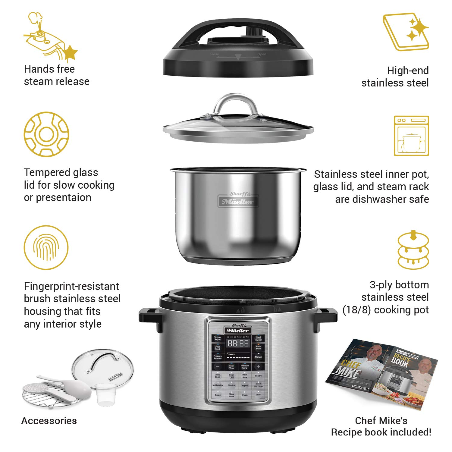 Electric Pressure Cooker 6 Quart Stainless Steel 12 in 1 Programmable Multipot Cooker Duopro RecipeBook Included by Sharff and Mueller by Sharff & Müeller (Image #2)