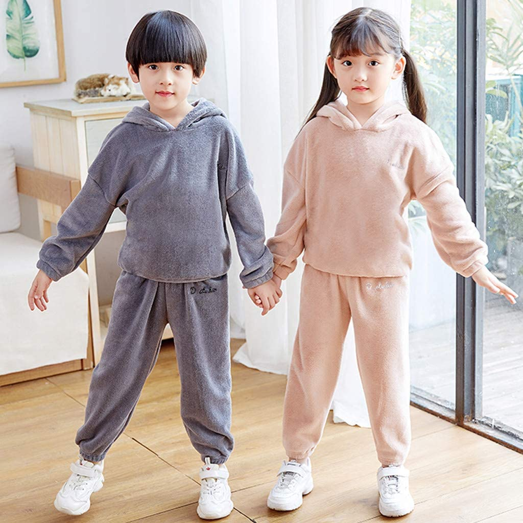 Baby Toddler Girls Boys Winter Clothes Pajamas Outfits 1-6 Years Old Kids Thick Fleece Loose Tops Pants Set