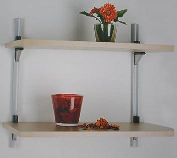 Wandregal metallschiene  Element System Holzregal Ahorn Wandregal Stecksystem Holz Regal ...