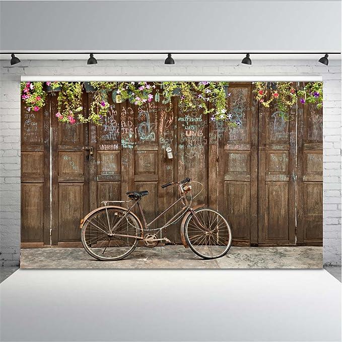 ML 7 x 5 Boda Telón de Fondo Vintage de Madera Puerta Fotografía Graffiti Pared con Retro Bike Gris ladrillo Suelo Foto Fondos Niños: Amazon.es: Electrónica