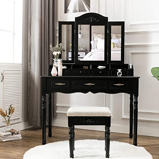 Unihome Vanity Table with Tri Folding Mirror Black Makeup Table with  Necklace Hooking Dressing Table with 7 Drawers Bedroom Black Makeup Vanity  for ...