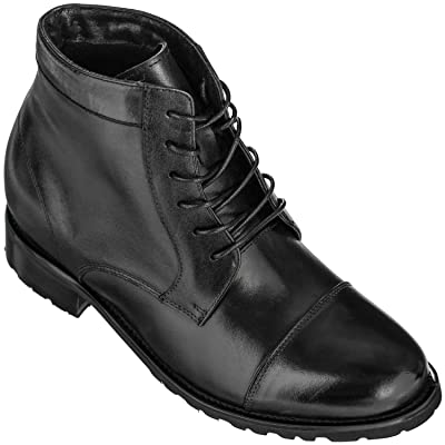 CALTO Men's Invisible Height Increasing Elevator Shoes - Black Premium Leather Lace-up High-top Dress Boots - 3.6 Inches Taller - T5203 | Boots