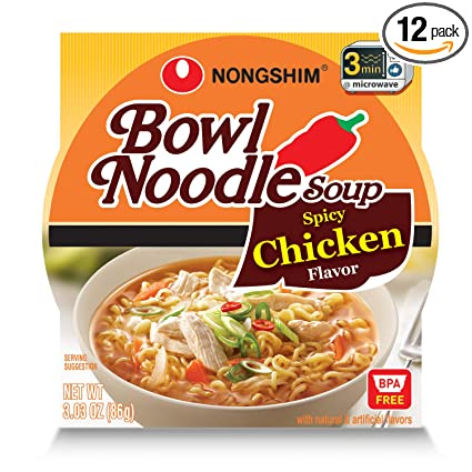 Amazon Com Nongshim Bowl Noodle Soup Spicy Chicken 3 03 Ounce Pack Of 12 Packaged Asian Dishes Grocery Gourmet Food