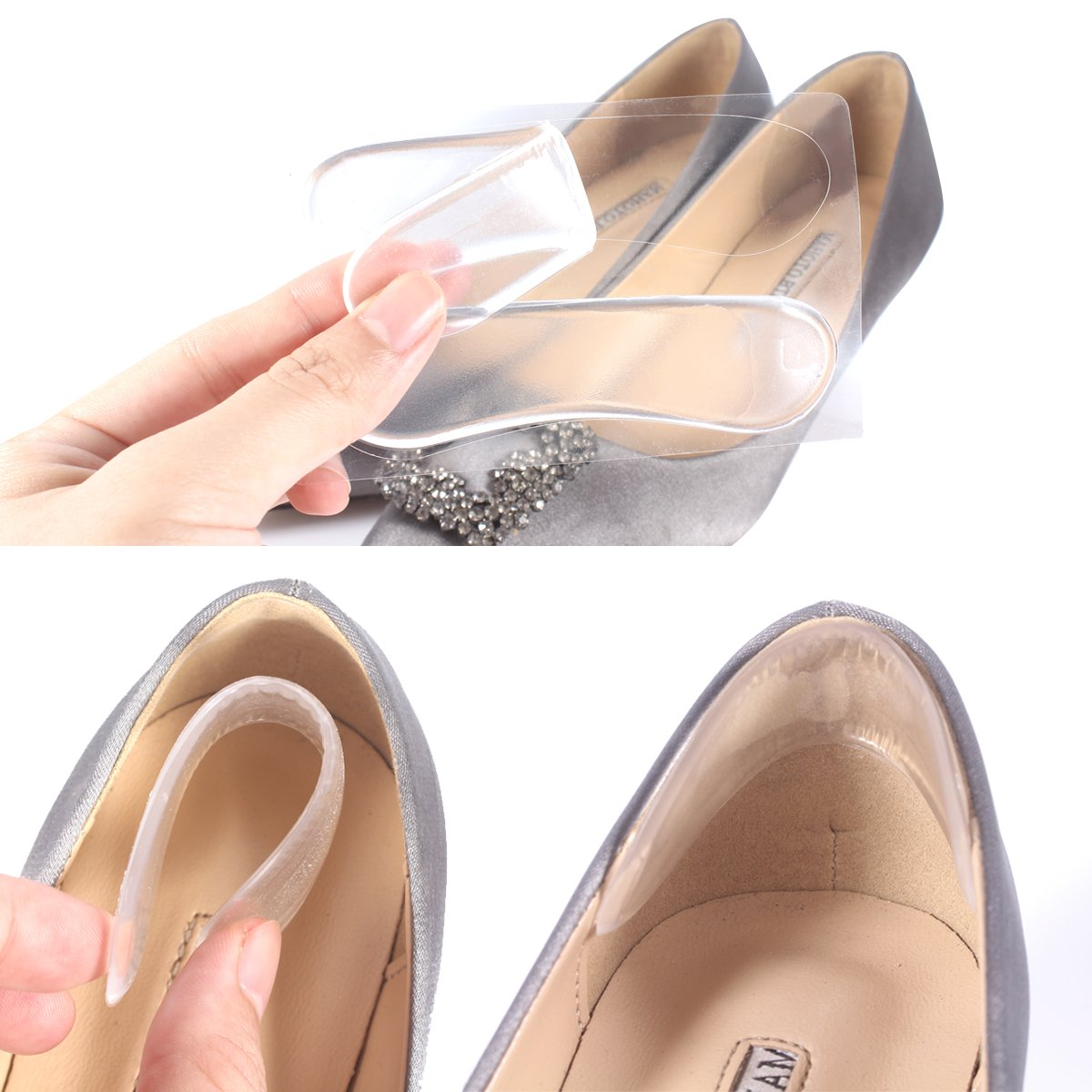 502b20be46 Amazon.com: Heel Grips Liners, Back Heel Insoles Cushions for High Heels  from Babo Care, Gel Shose Inserts for Men & Women,Include Free 1 Pair Ball  of Foot ...