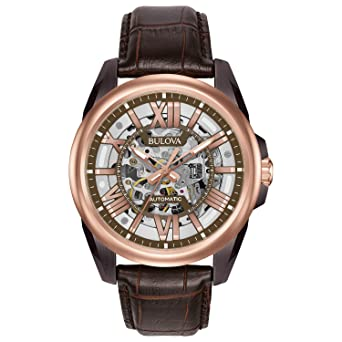 b15d8539a Bulova Men's Mechanical Hand Wind Stainless Steel and Leather Dress Watch,  Color:Brown (