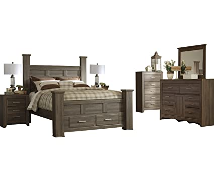 Ashley Juararo 6PC E King Storage Bedroom Set With Two Nightstand U0026 Chest  In Dark Brown