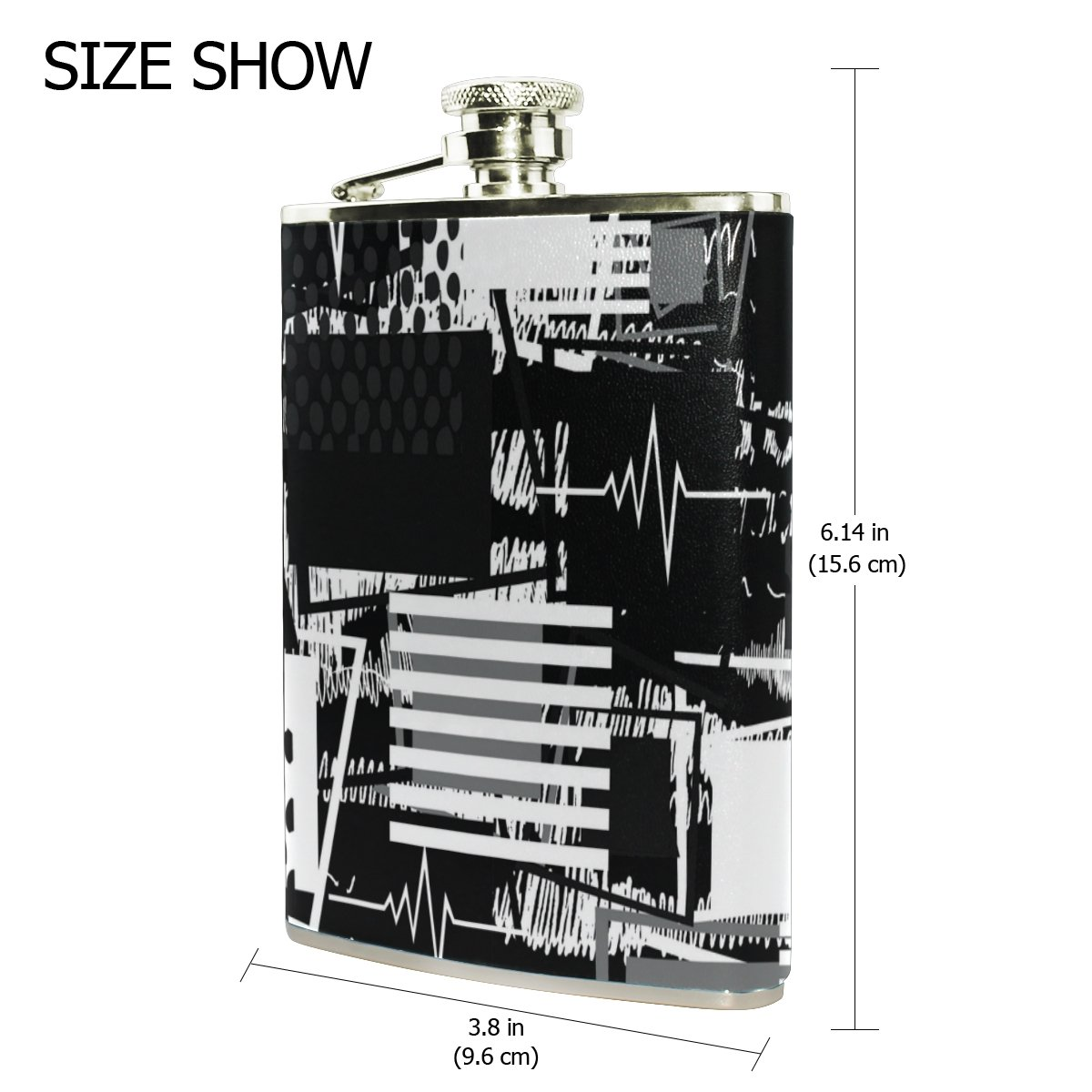 U Life Abstract Painting Black And White Hip Flask Electronic Jam Circuit Diagram Portable Mini Liquor Alcohol Spirits Flasks Bottles Stainless Steel Leather 8 Oz