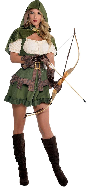 Damen Robin Hood Räuberin Komplett Kostüm Kleid, Grün, Größe L