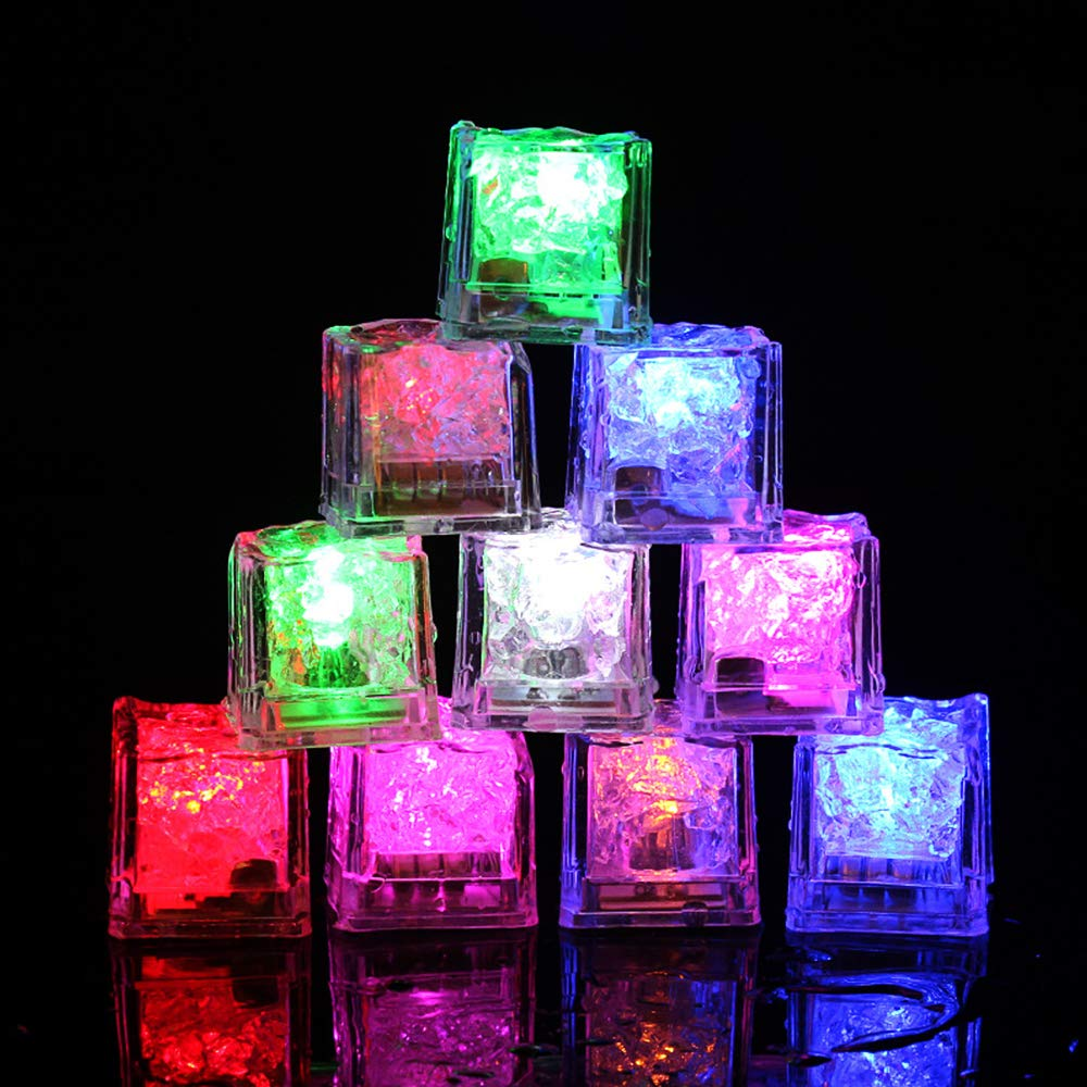 Tker 12pcs Led Light up Ice Cube Induction Light Water Sensor Multi Colors Changing Electronics Decoration Light