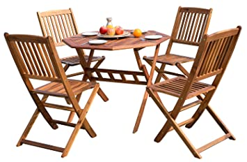 Comharbor Mesa Plegable de Madera de 4 plazas y sillas de ...