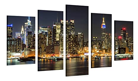 Amazon.com: Large Canvas Print Wall Art – Manhattan Night ...