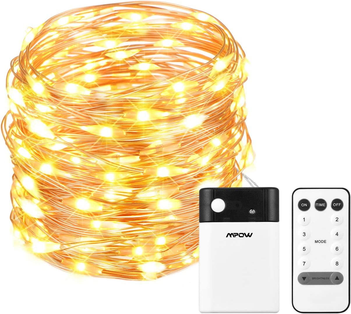 Mpow 33ft 100 LED Battery Operated String Lights, Fairy String Lights Remote Control, Decorative Lights Dimmable, Copper Wire Lights Bedroom, Patio, Garden, Parties 2 Colors Changable