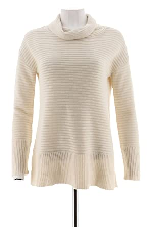 839642f345b Halston Silk-Cashmere Blend Ribbed Knit Turtleneck Pullover Bone 1X New  A280017