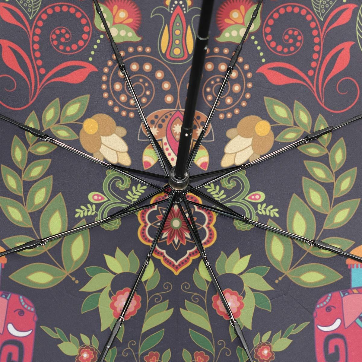 ISAOA Paraguas de Viaje autom/ático Compacto Plegable Paraguas Creatividad Indio Elefante Resistente al Viento Ultra Ligero UV protecci/ón Paraguas para Mujeres y Hombres