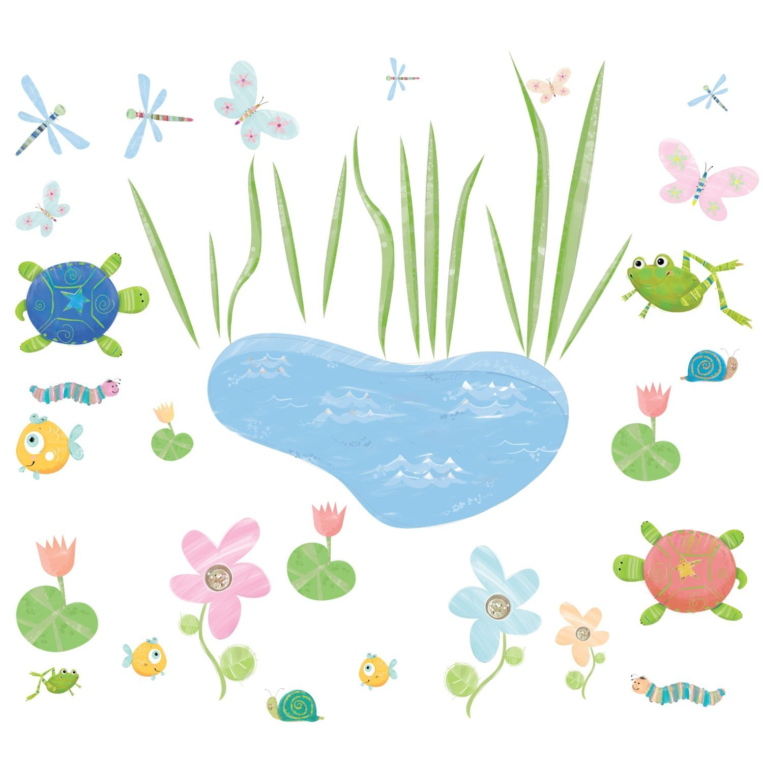 RoomMates Hoppy Pond Peel and Stick Wall Decals