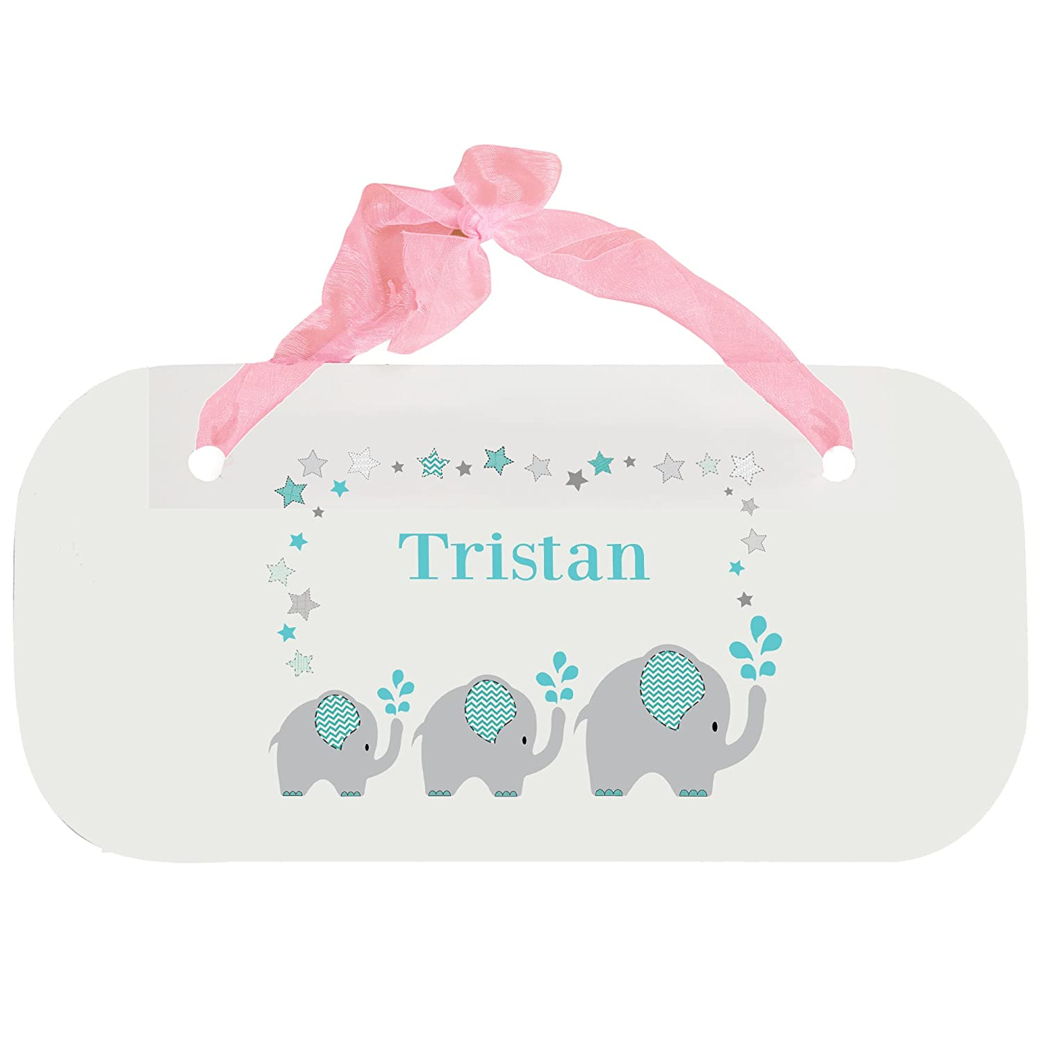 Personalized Grey and Teal Elephant Nursery Door Hanger Plaque with pink ribbon MyBambino
