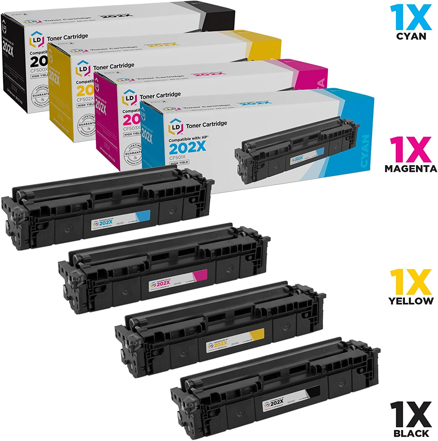 LD Compatible Toner Cartridge Replacements for HP 202X High Yield (1 Black, 1 Cyan, 1 Magenta, 1 Yellow, 4-Pack)