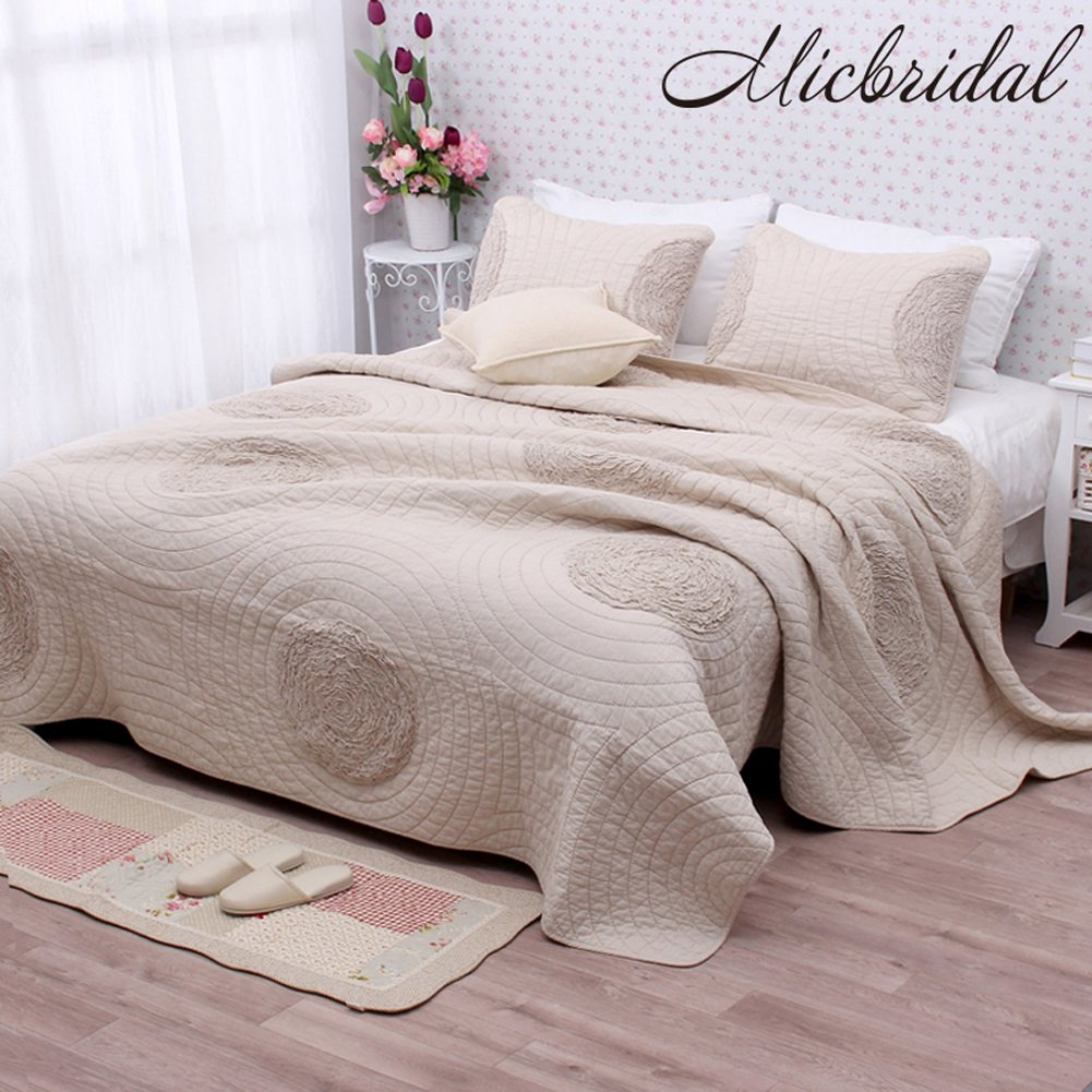 MicBridal 100% Cotton Patchwork Quilt Queen Size Sets with 3D Floral Pattern, Solid Champagne Luxury Quilt and Coverlet Set Home Bedding Set with 2 Matching Pillow Shams by