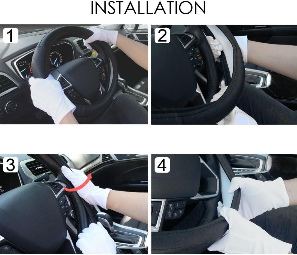 SEG Direct Black Microfiber Leather Auto Car Steering Wheel Cover Universal 15 inch: Automotive