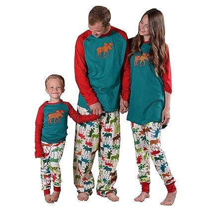 Pijamas de Navidad a juego para toda la familia, diseño a rayas con motivos