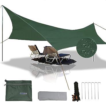 gracosy Lona de Camping Toldo Camping Impermeable Lona de Playa Portátil 240×220cm 420D Tela Oxford Anti-UV Anti-Lluvia Duradero con Clavos de ...