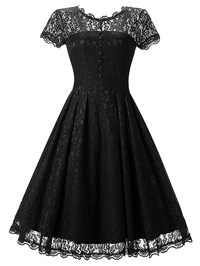1950s Cocktail Dresses, Party Dresses Tecrio Women Elegant Vintage Floral Lace Capshoulder Cocktail Party Swing Dress $28.84 AT vintagedancer.com