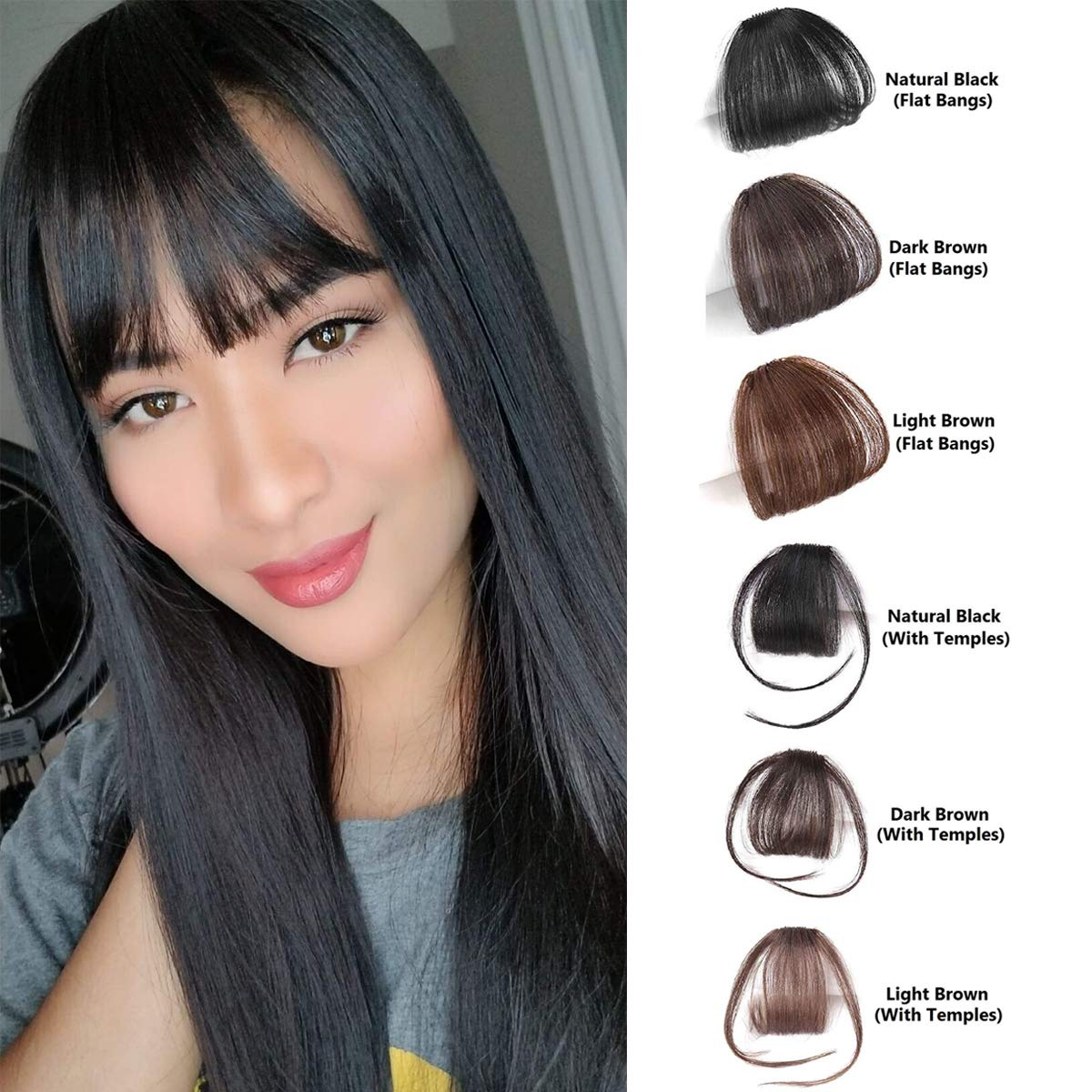Shinon Natural Real Human Hair Flat Bangs/Fringe Hand Tied MiNi Hair Bangs Fashion Clip-in Hair Extension (Flat Bangs with Temples,Natural Black)