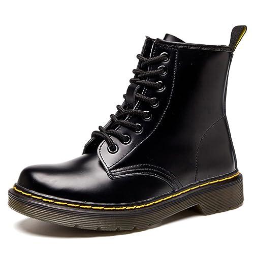 ukstore Botas Mujer Invierno/Hombre Botas Piel/Botines Planas Manoplas/Boots Zapatos Cordones/clásicos Calientes Impermeables