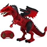 Dinosaur Planet Dragon Battery Operated Remote Control Walking Toy Dinosaur Figure w/Shaking Head, Walking Movement, Light Up Eyes and Sounds
