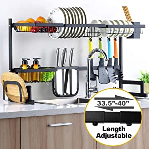 """Sincalong Over Sink Dish Singalong Stainless Steel Kitchen Drainer Drying, Sturdy Storage Shelf, Tableware Rack, Length Adjustable 33"""" to 40"""", L, Black"""