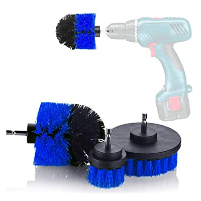 YIJINSHENG 3 Piece Medium and Stiff Brush with Drill Attachment Scrubbing Brushes for Cleaning Car Tires,Carpet, Kitchens,Bathrooms, Showers, Tubs, Boats Power Scrubber Kit (Blue): Automotive