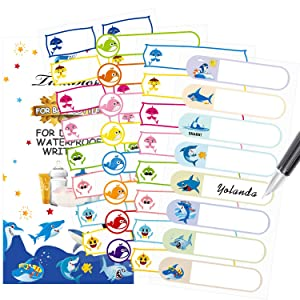 Baby Bottle Labels for Daycare, Tinabless Self-Laminating, Waterproof Write-On Name Stickers for School, Travel, Pack of 88 (Shark)