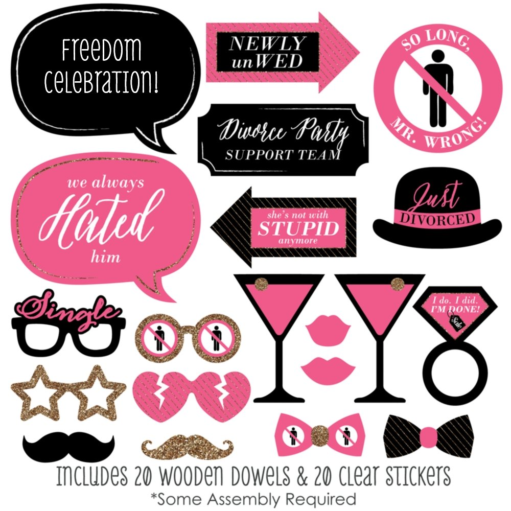 Amazon.com: Divorce Party - Photo Booth Props Kit - 20 Count: Toys ...