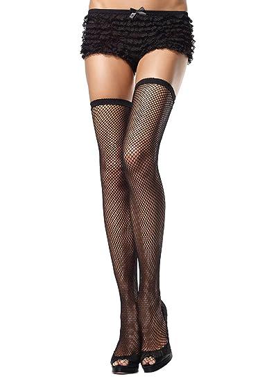 4965aa45025cc Amazon.com: Leg Avenue Women's Scalloped Elastic Top Fishnet Thigh ...