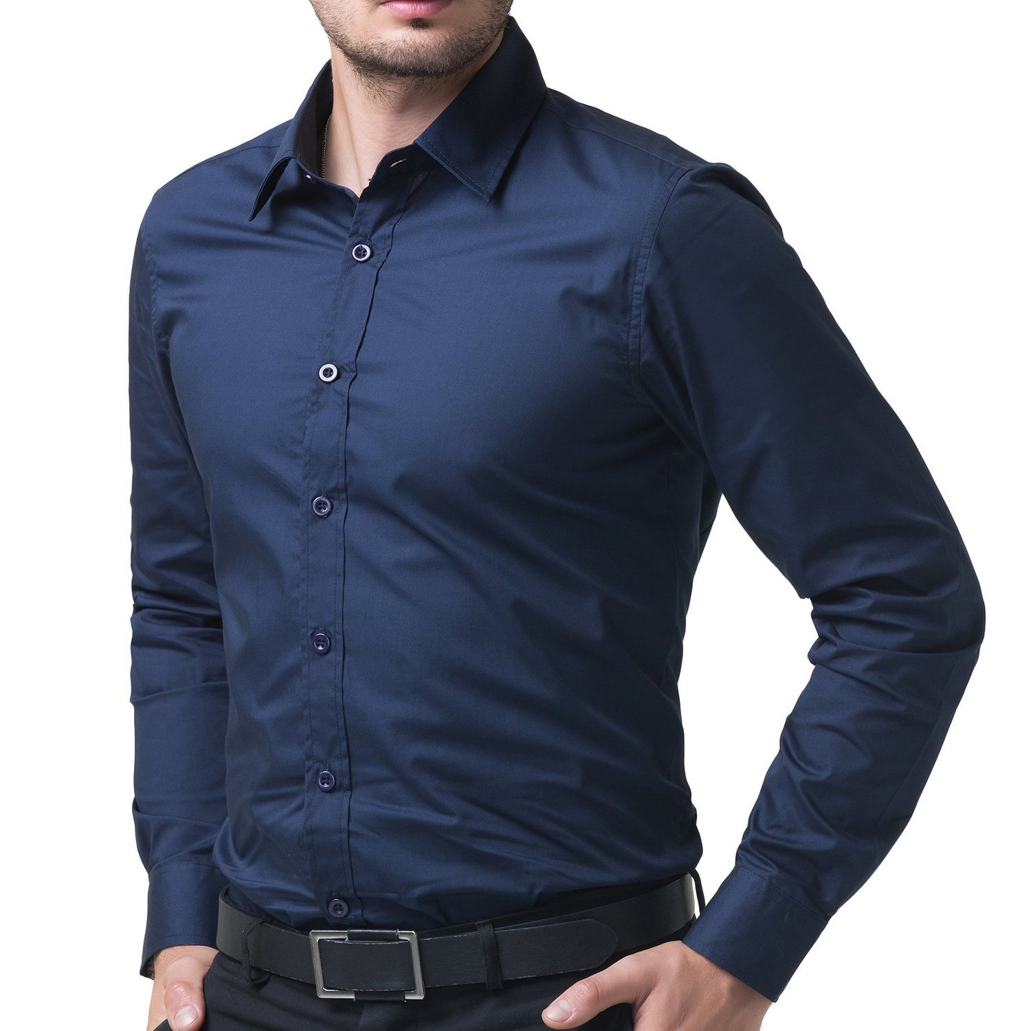 Being Fab Men's Solid 100% Cotton Regular Fit Casual Navy Blue ...