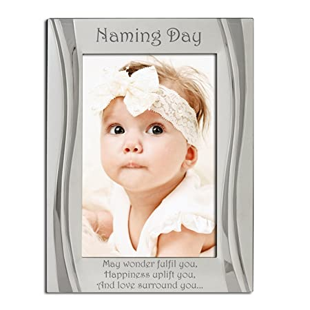 Naming Day Photo Frame, Silver, Engraved with\