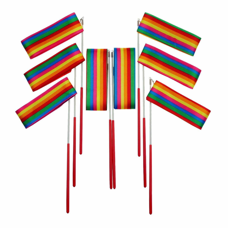 Bilipala Rainbow Rhythmic Gymnastics Ribbon Wand, Praise Dancing Streamers, Baton Twirling Ribbons For Kids, 8 Counts