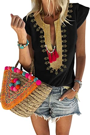 LOSRLY Women V Neck Boho Embroidered Shirt Short Sleeve Summer Tops Casual Blouses