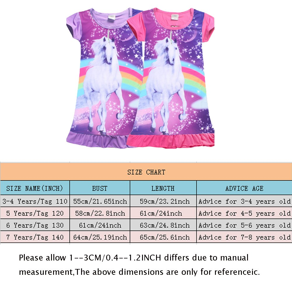 YIJODM Comfy Girls Unicorn Printed Rainbow Princess Casual Dress Nightgown Nightie for Toddler