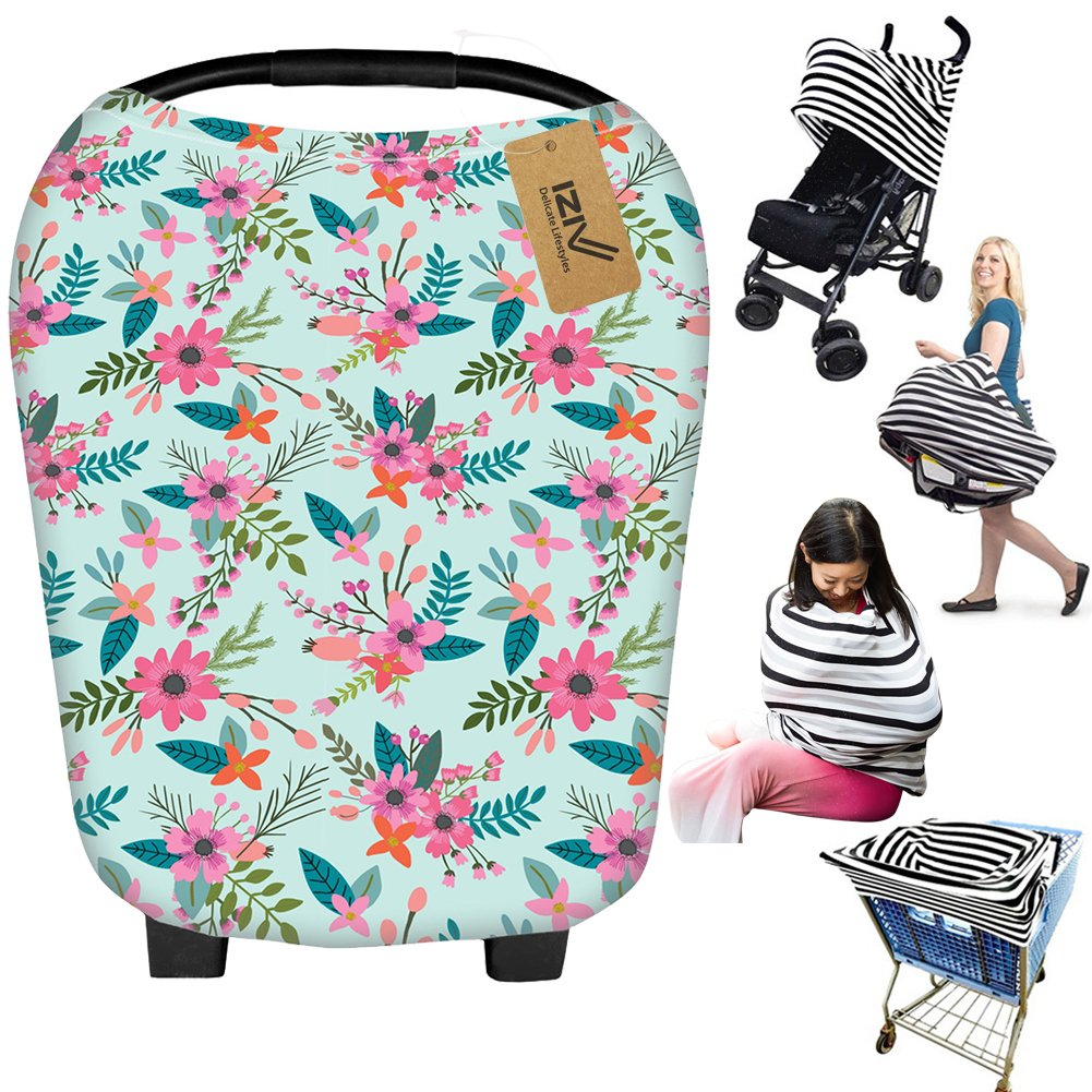 iZiv Ultrasoft 4-in-1 Multi-use Baby Stretchy Cover Car Seat Canopy/Nursing Cover/Shopping Cart Cover/Infinity Scarf Perfect Gift for Baby (Color-5) Dlife FBCH55