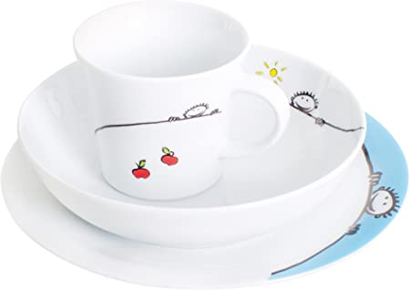 KAHLA Kids 3 Piece Dinner Set White Porcelain with Fun Goblin Design Plate x1 Bowl x1 and Cup x1 Set of 3
