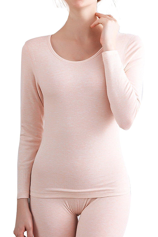 Alisa.Sonya Women's Thermal Underwear Set Thick Warm Fleece Lined Long Sleeve Top & Bottom Long Johns Pants Pyjamas