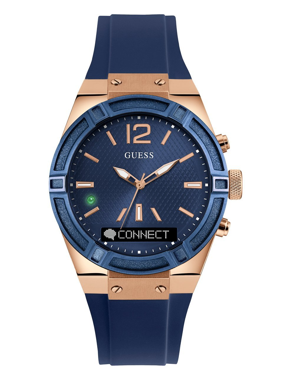 GUESS Women's CONNECT Smartwatch with Amazon Alexa and Silicone Strap Buckle - iOS and Android Compatible -  Blue by GUESS