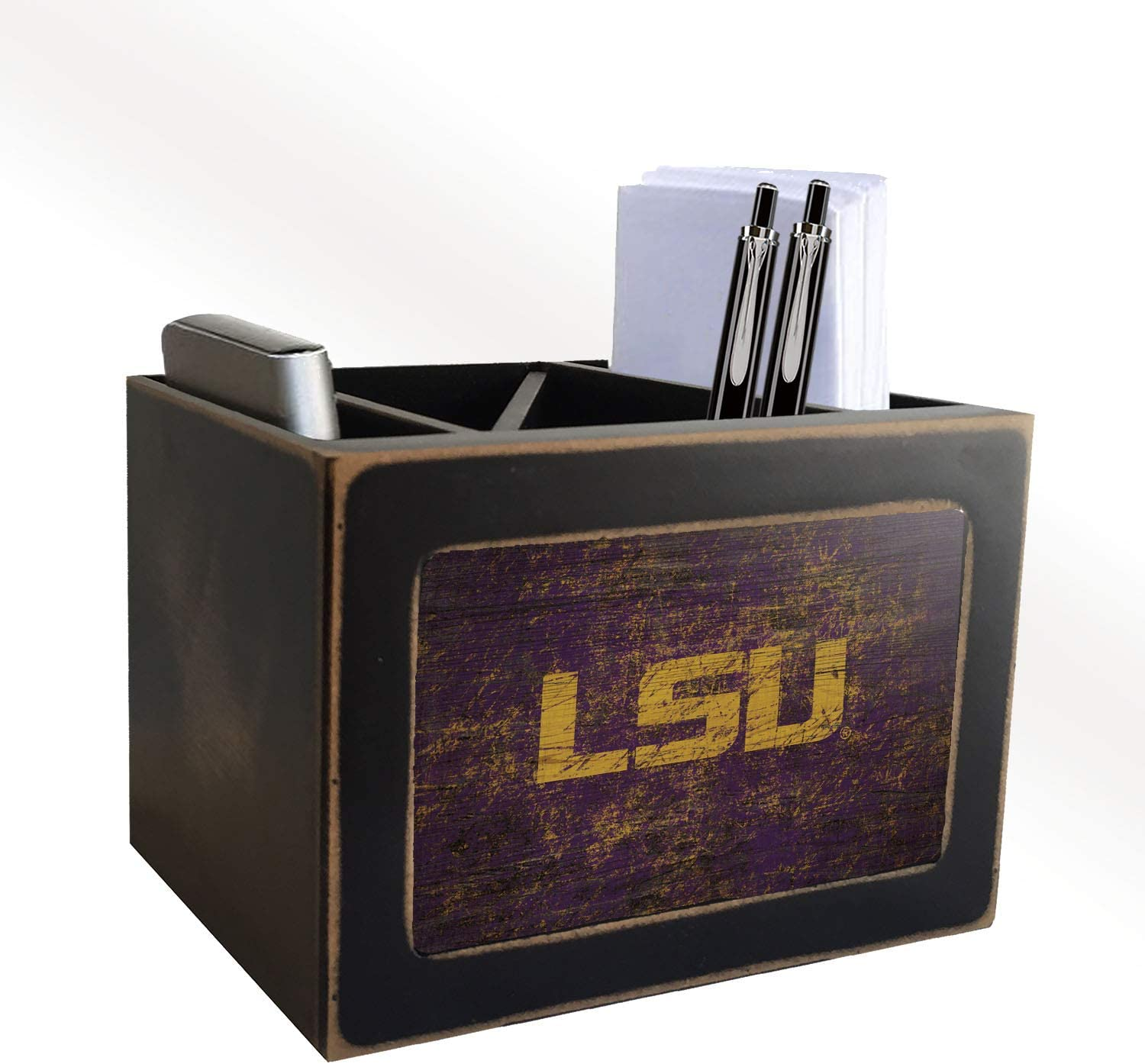 Fan Creations NCAA LSU Tigers Distressed Team Logo Desktop Organizer with Color