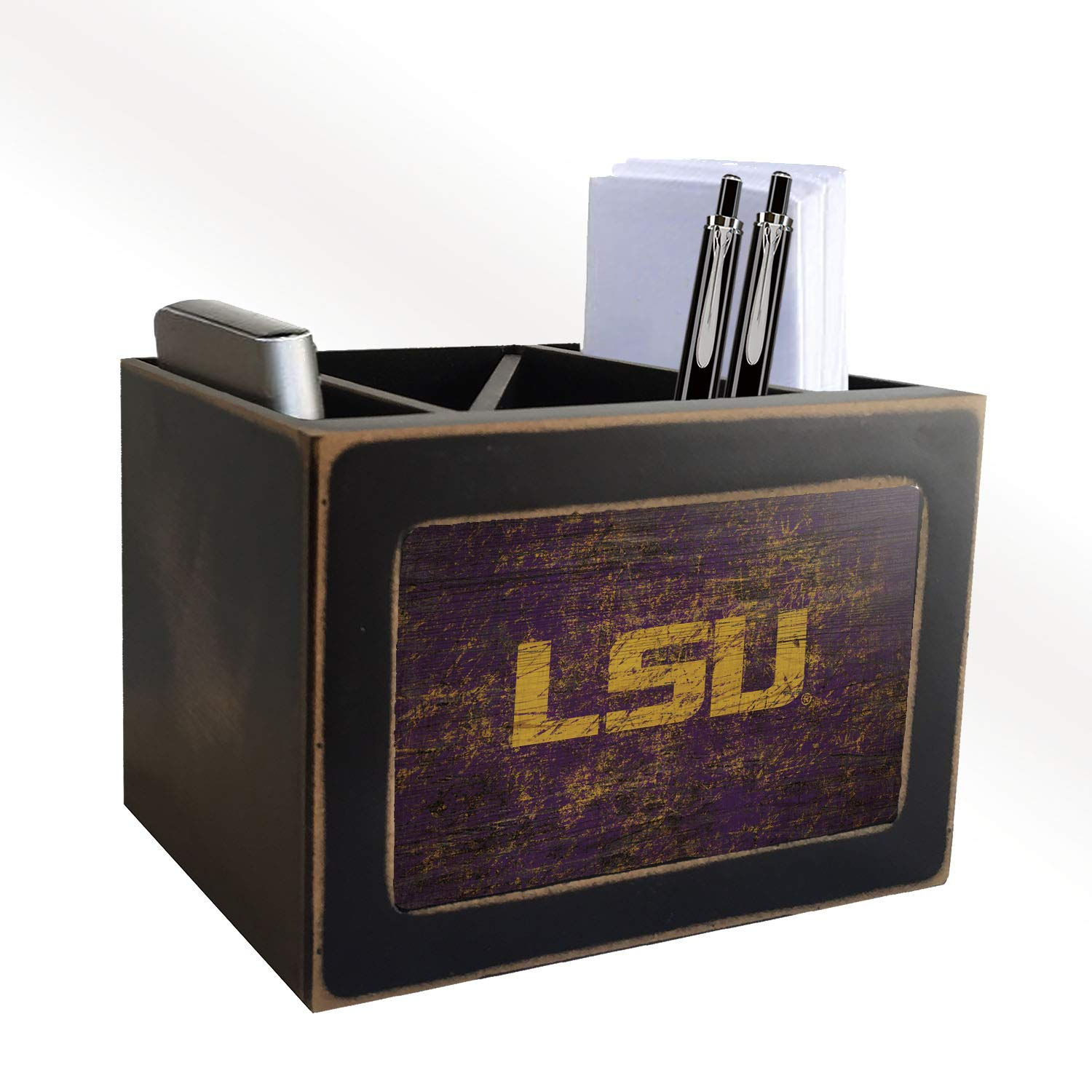 Fan Creations NCAA LSU Tigers Distressed Team Logo Desktop Organizer with Color by Fan Creations